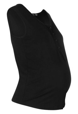 Black Maternity Nursing Button Front Top