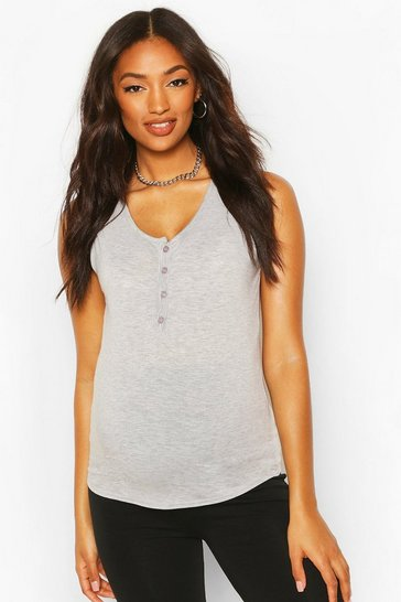 Grey marl grey Maternity Nursing Button Front Top