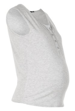 Grey marl Maternity Nursing Button Front Top