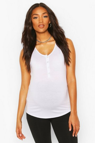 White Maternity Nursing Button Front Top