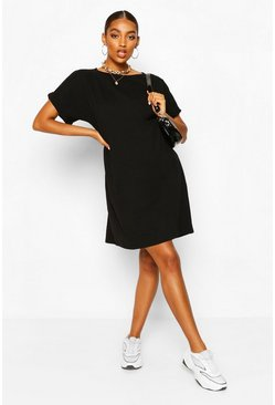 Black Maternity Oversized Tshirt Dress