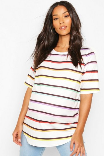 White Maternity Rainbow Stripe T-Shirt