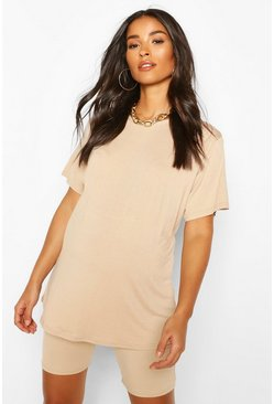 Stone beige Maternity Oversized T-Shirt & Short Lounge Set