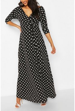 Black Maternity Polka Dot Wrap Maxi Dress