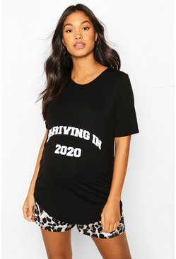 Black svart Maternity 'Arriving In 2020' Leopard PJ Short Set
