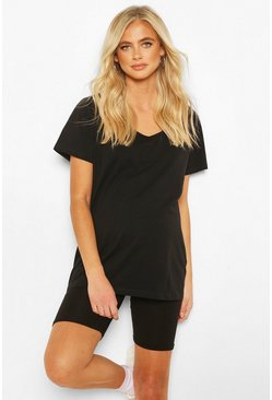 Black Maternity V Neck Slouchy Tshirt