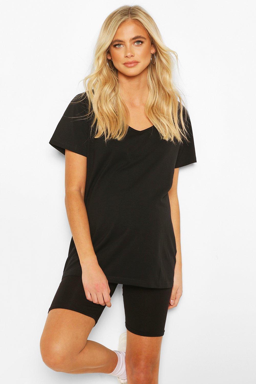 Maternity Clothing Black Maternity V Neck Slouchy Tshirt