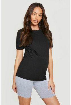 Maternity Cotton T-Shirt, Black negro