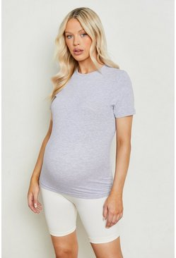 Maternity Cotton T-Shirt, Grey marl gris