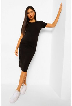 Black Maternity Bodycon Midi Dress