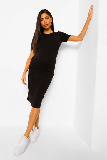 Black Maternity Bodycon Mini Dress