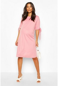 Pink Maternity Tie Sleeve Tunic Dress