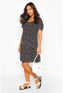 Black Maternity Ditsy Smock Dress