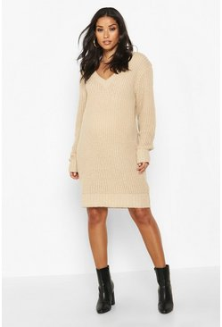 Stone beige Maternity V Neck Jumper Dress