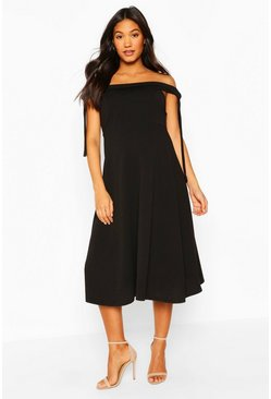 Black Maternity Tie Side Bradot Skater Dress