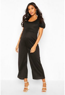 Black Maternity Puff Sleeve Culotte Jumpsuit