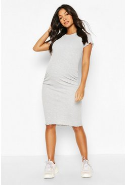 Grey Maternity Lettuce Edge Midi Dress