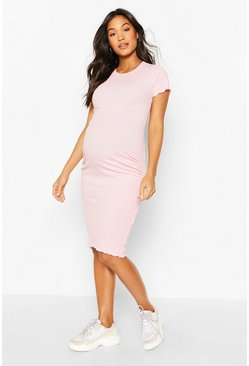 Pink Maternity Lettuce Edge Midi Dress