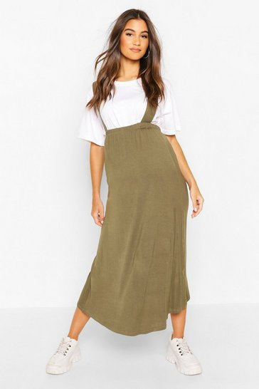 Khaki Maternity Pinafore Midi Skirt