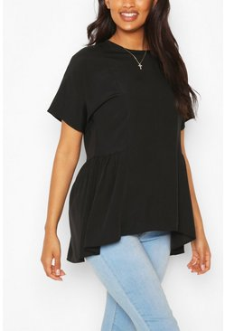 Black Maternity Tunic Dip Hem Smock Top