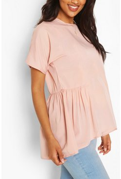 Rose pink Maternity Tunic Dip Hem Smock Top