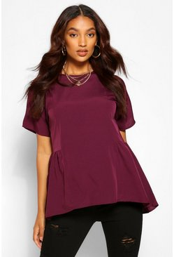 Wine red Maternity Tunic Dip Hem Smock Top