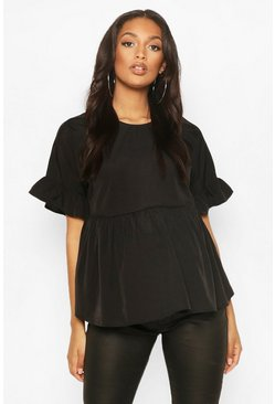 Black Maternity Cross Back Woven Smock Top