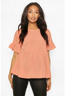 Dusky pink pink Maternity Cross Back Woven Smock Top