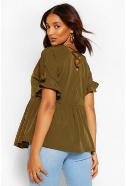 Khaki Maternity Cross Back Woven Smock Top