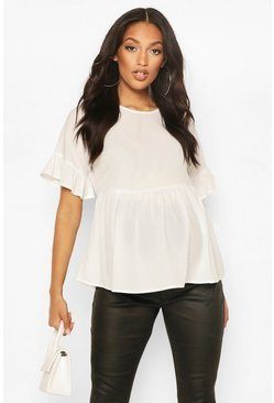 White Maternity Cross Back Woven Smock Top
