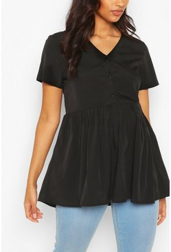 Black Maternity Button Front Woven Smock Top
