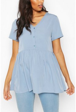 Pale blue blue Maternity Button Front Woven Smock Top