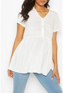 White Maternity Button Front Woven Smock Top