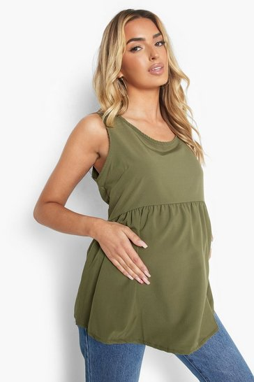 Khaki Green Maternity Woven Smock Vest