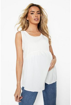 White Maternity Woven Smock Tank Top