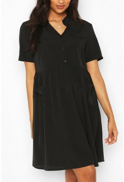 Black Maternity Button Front Pocket Smock Dress