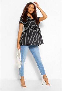 Black Maternity Stripe Woven Smock Top