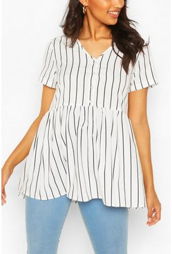 White Maternity Stripe Woven Smock Top