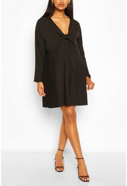 Black Maternity Tie Pleated Dress