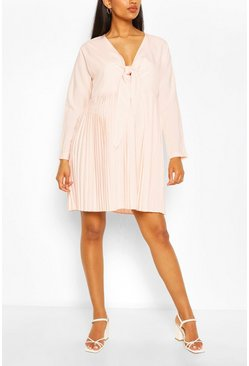 Pink Maternity Tie Pleated Dress