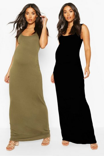 Khaki Maternity 2 Pack Maxi Dress