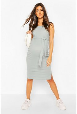 Grey Maternity Ribbed Tie Midi Dress