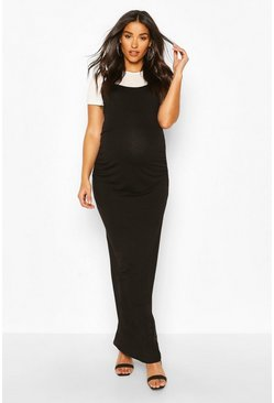 Black Maternity 2 in 1 T-Shirt Maxi Dress