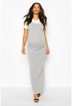 Grey marl grey Maternity 2 in 1 T-Shirt Maxi Dress