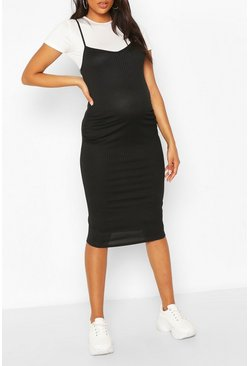 Black Maternity 2 in 1 T-Shirt Midi Dress