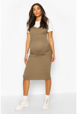Khaki Maternity 2 in 1 T-Shirt Midi Dress