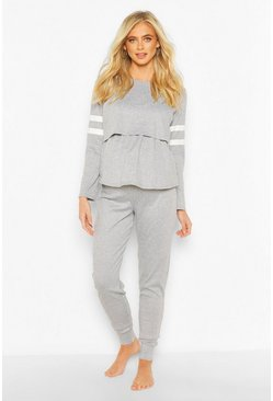 Grey marl grey Maternity Stripe Detail Nursing Lounge Set