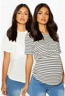 White Maternity 2 Pack Nursing Tee