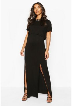 Black Maternity Nursing Split Front T-Shirt Dress