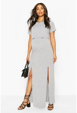 Grey marl grey Maternity Nursing Split Front T-Shirt Dress